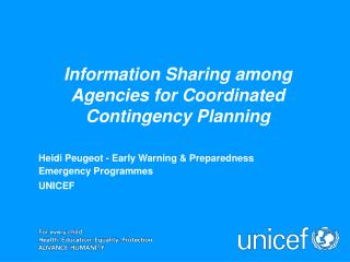 Information Sharing among Agencies for Coordinated  Contingency Planning