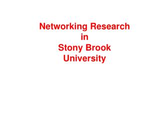Networking Research  in  Stony Brook University