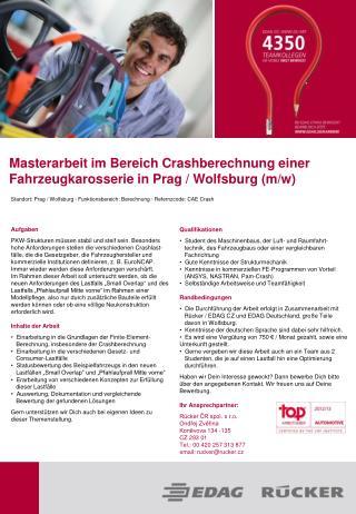 Masterarbeit im Bereich Crashberechnung einer Fahrzeugkarosserie in Prag / Wolfsburg (m/w)