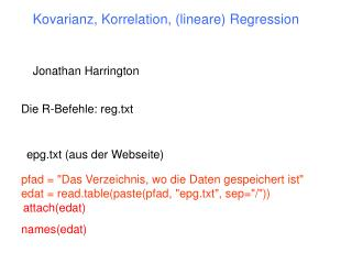 Kovarianz, Korrelation, (lineare) Regression
