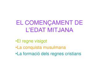 EL COMEN�AMENT DE L�EDAT MITJANA