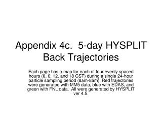 Appendix 4c.  5-day HYSPLIT Back Trajectories