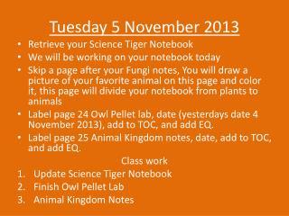 Tuesday 5 November 2013