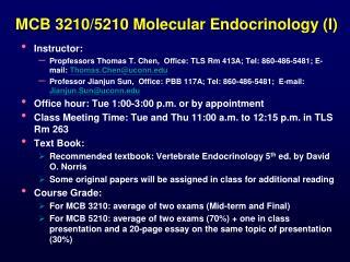 MCB 3210/5210 Molecular Endocrinology (I)