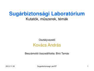 Sugárbiztonsági Laboratórium Kutatók, műszerek, témák