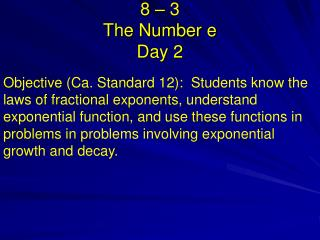 8 – 3    The Number e Day 2