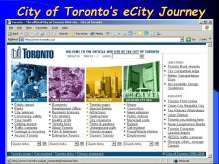 City of Toronto's eCity Journey