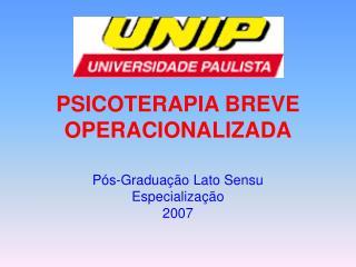 PSICOTERAPIA BREVE OPERACIONALIZADA