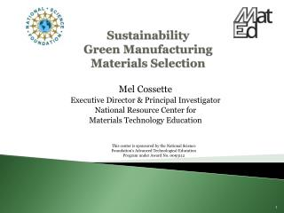 Sustainability  Green Manufacturing Materials Selection