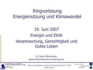 Ringvorlesung Energienutzung und Klimawandel