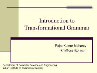 Introduction to Transformational Grammar