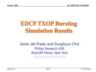 EDCF TXOP Bursting Simulation Results