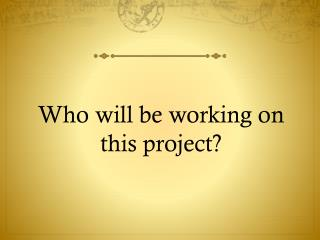 Who will be working on this project?