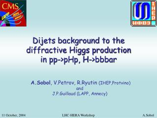 Dijets background to the diffractive Higgs production  in pp->pHp, H->bbbar