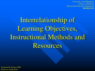 Interrelationship of Learning Objectives, Instructional Methods and Resources
