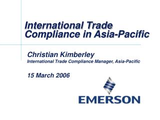 International Trade Compliance in Asia-Pacific