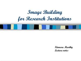 Image Building for Research Institutions