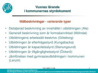 Vuxnas lärande  i kommunernas styrdokument