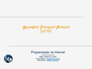 H yper t ext  T ransport  P rotocol (HTTP)