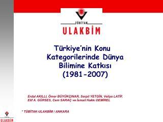 Türkiye'nin Konu Kategorilerinde Dünya Bilimine Katkısı  (1981-2007)