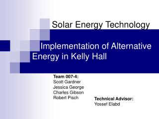 Implementation of Alternative Energy in Kelly Hall