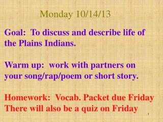 Monday 10/14/13