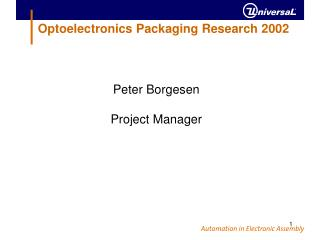 Optoelectronics Packaging Research 2002