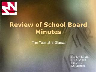 Review of School Board Minutes