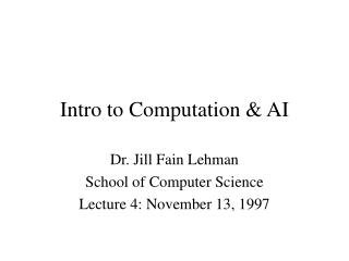 Intro to Computation & AI