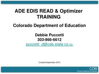 ADE EDIS READ & Optimizer  TRAINING