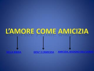 L'AMORE COME AMICIZIA