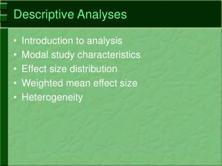 Descriptive Analyses