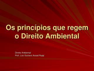 Os princ�pios que regem o Direito Ambiental
