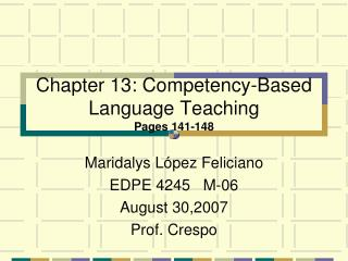 Chapter 13: Competency-Based Language Teaching Pages 141-148