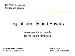 Digital Identity and Privacy