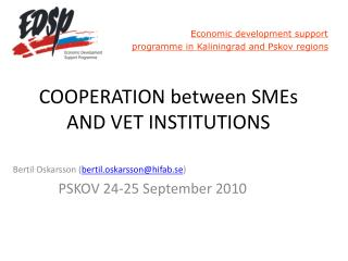 COOPERATION between SMEs AND VET INSTITUTIONS