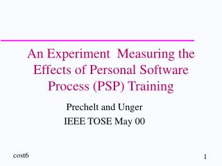 An Experiment  Measuring the Effects of Personal Software Process (PSP) Training