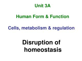 Unit 3A Human Form & Function