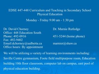 EDSE 447-448 Curriculum and Teaching in Secondary School Physical Education