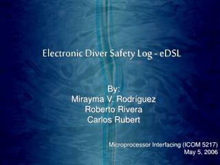 Electronic Diver Safety Log - eDSL