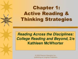 Chapter 1:  Active Reading   Thinking Strategies