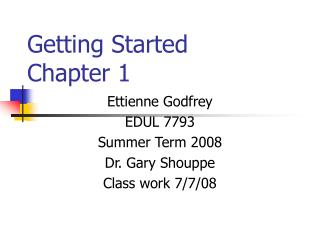 Getting Started Chapter 1