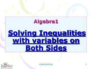 Algebra1 Solving Inequalities with variables on Both Sides