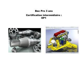 Bac Pro 3 ans  Certification intermédiaire : EP1