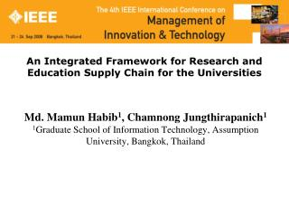 An Integrated Framework for Research and Education Supply Chain for the Universities