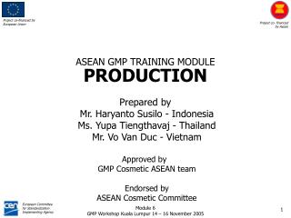 ASEAN GMP TRAINING MODULE PRODUCTION