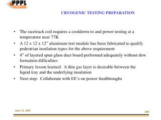 CRYOGENIC TESTING PREPARATION