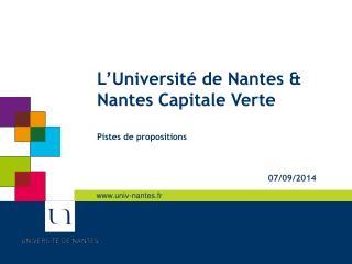 L'Université de Nantes & Nantes Capitale Verte Pistes de propositions