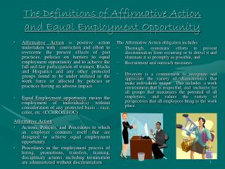 The Definitions of Affirmative Action and Equal Employment Opportunity