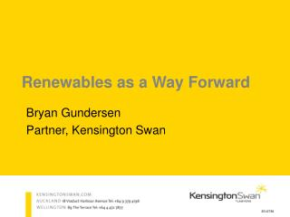 Renewables as a Way Forward